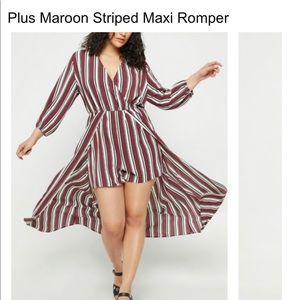 Maroon striped maxi romper